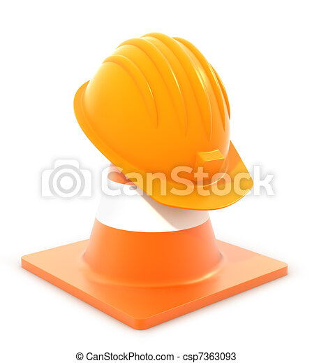traffic cone and hardhat - csp7363093