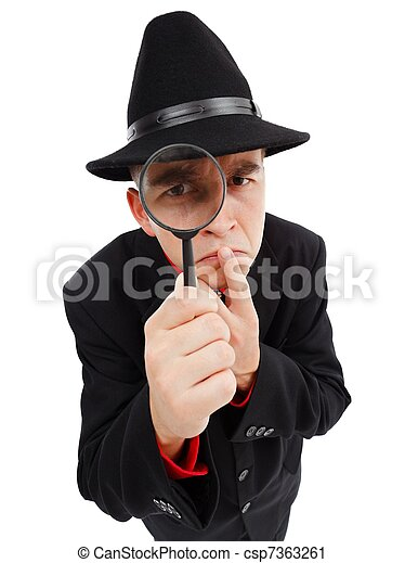 Sceptical detective looking through magnifying glass - csp7363261