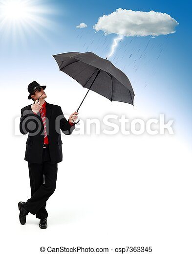 Man standing and protecting himself from disaster - csp7363345