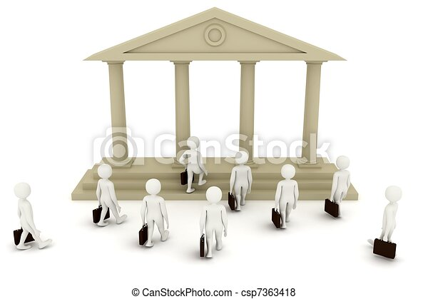 3d men going to bank - csp7363418