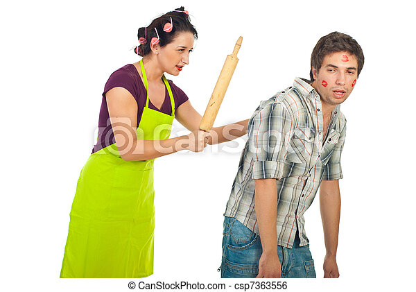 Angry wife beat her drunk unfaithful husband - csp7363556