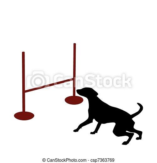 Dog and hurdle - csp7363769