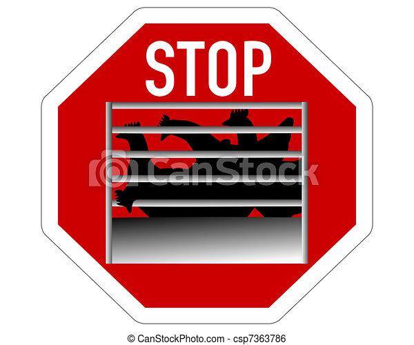 Stop sign caging of hen - csp7363786