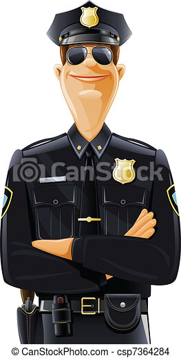 policeman in uniform and goggles - csp7364284