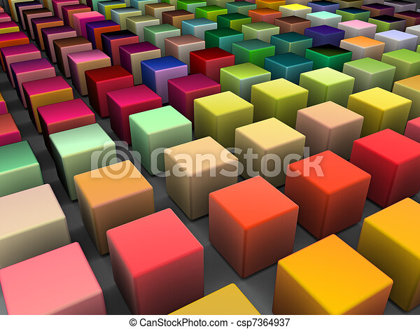 3d render of beveled cubes in multiple bright colors - csp7364937