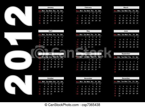 Calendar for 2012 - csp7365438