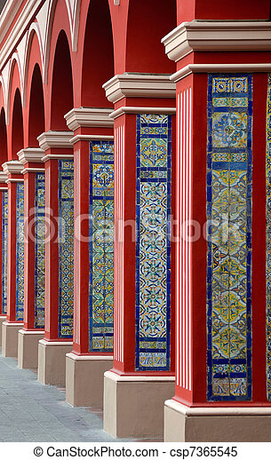 Arch Columns with Colorful tiles - Lima - csp7365545