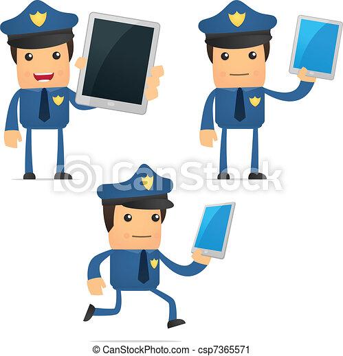 set of funny cartoon policeman - csp7365571