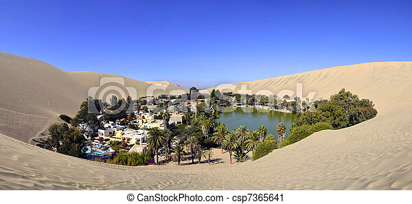 Panorama of Huacachina Oasis near Ica Peru - csp7365641