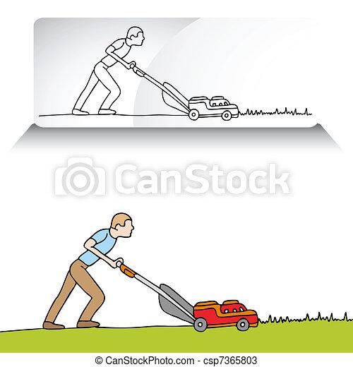 Man Mowing Lawn - csp7365803