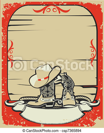 Cowboy elements.Red background with grunge elements decoration - csp7365894