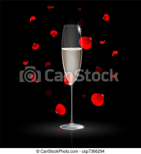 champagne and red petals - csp7366294