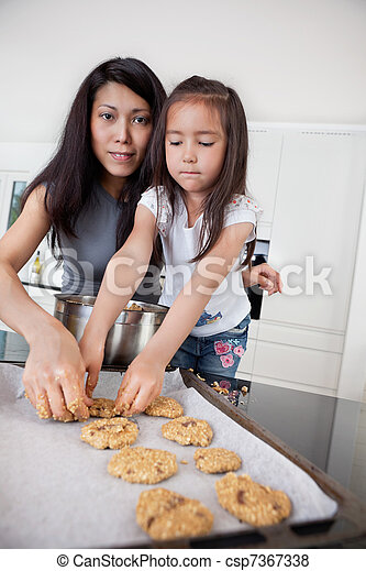Mother and child making cookies - csp7367338
