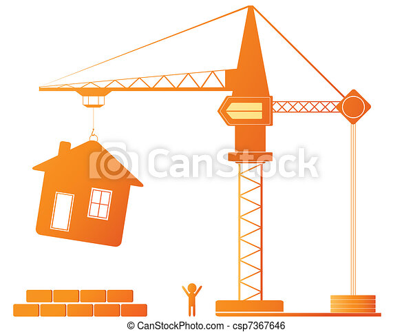 Stock Illustration of construction crane and building ...