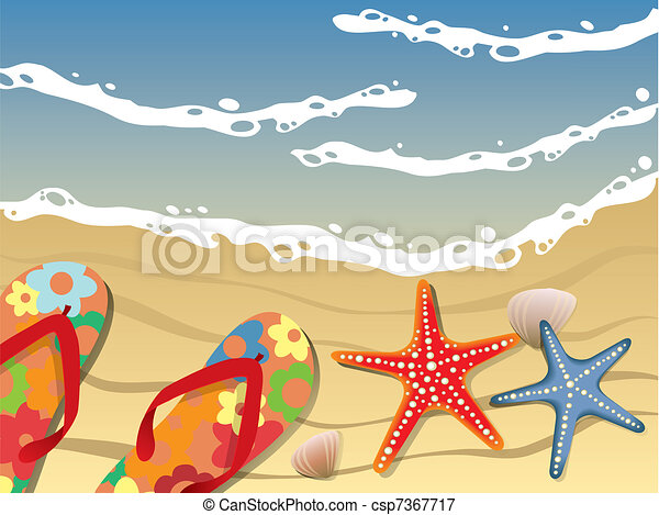 Flip-flops and shells on the beach - csp7367717