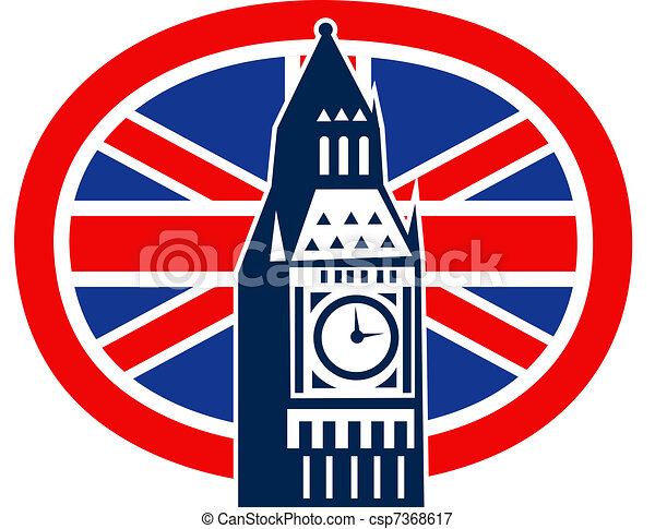 London Big Ben British Union Jack flag - csp7368617