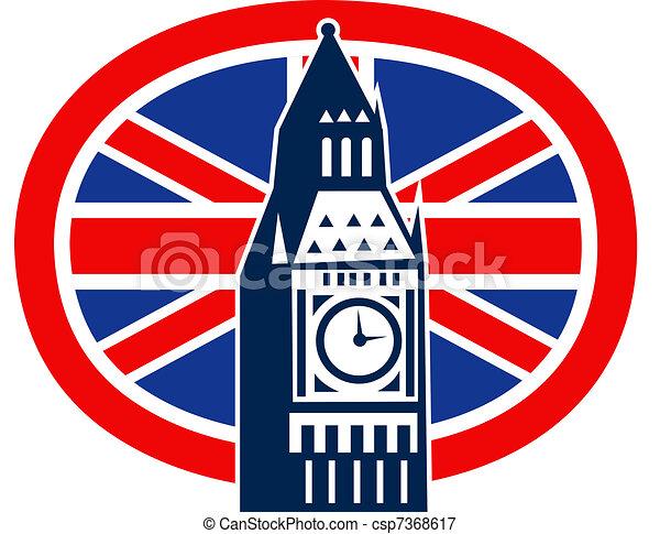 London Big Ben British Union Jack flag - csp7368617