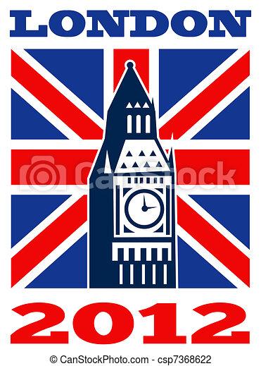 London Big Ben British Union Jack flag 2012 - csp7368622