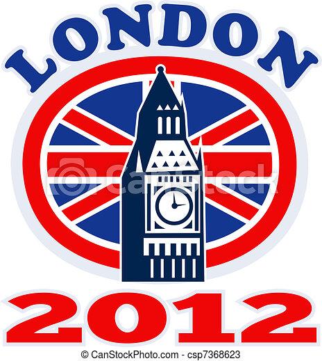 Londra, grande, ben, britannico, unione, cricco, bandiera, 2012