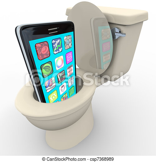 Smart Phone in Toilet Frustrated Old Model Obsolete - csp7368989
