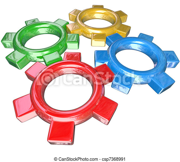 Four colorful gears -- one green, red, blue and gold -- turn in unison to symbolize synergy, cooperation, parternship and collaboration in working together to meet a goal or overcome a challenge - csp7368991