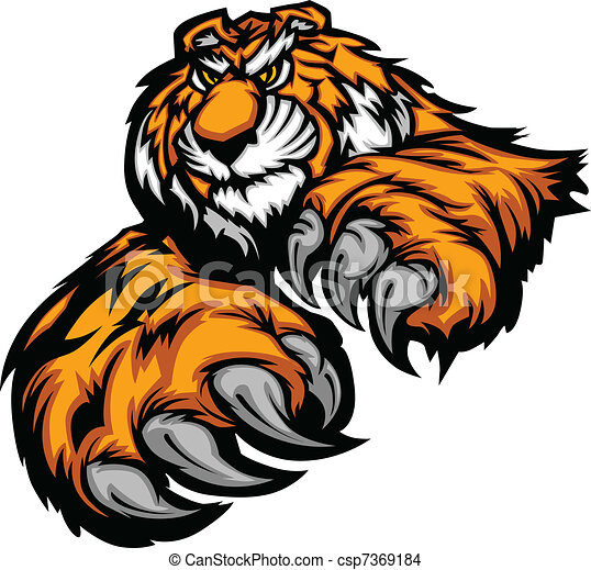 Tiger Mascot Body with Paws and Cla - csp7369184
