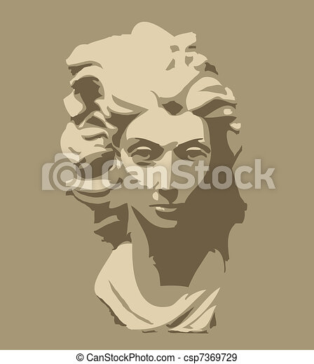marble sculpture of head of woman - csp7369729