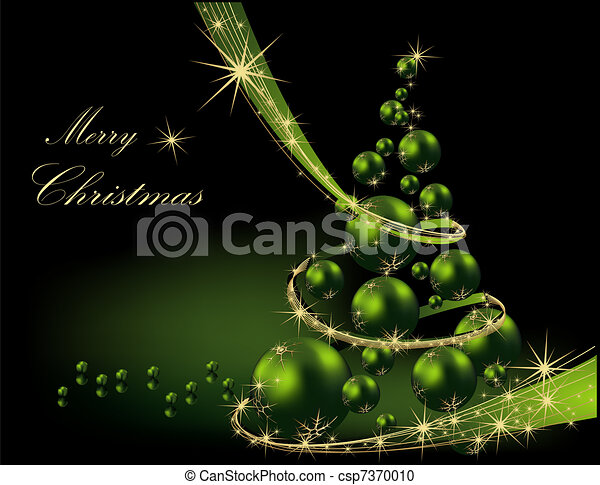 Vector clipart of christmas tree gold and green csp7370010 for Green and gold christmas tree
