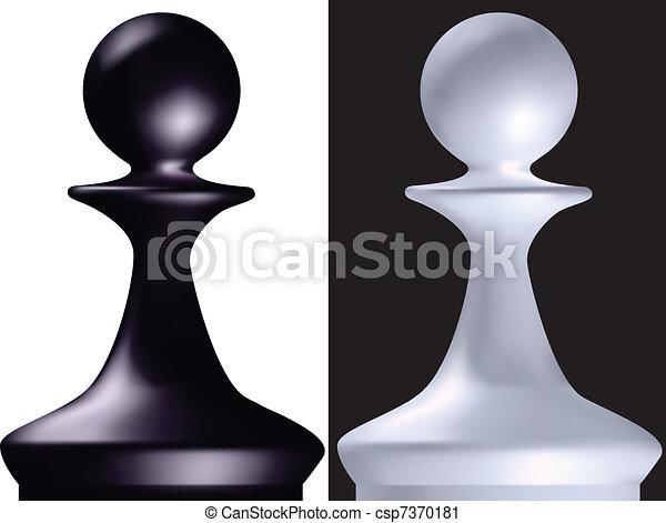 Vector Clip Art de ajedrez, figura, peón - negro, blanco, ajedrez ...
