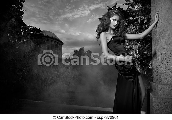 Sexy woman in stylish garden in black and white - csp7370961