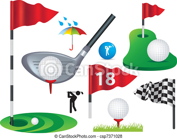set of full colour golf icons and designs - csp7371028