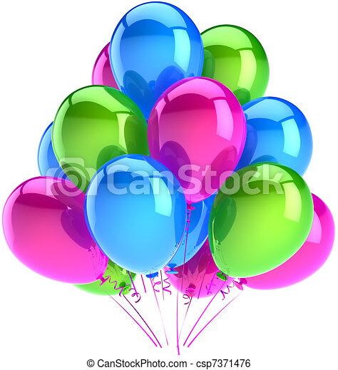 Happy birthday balloons decoration - csp7371476