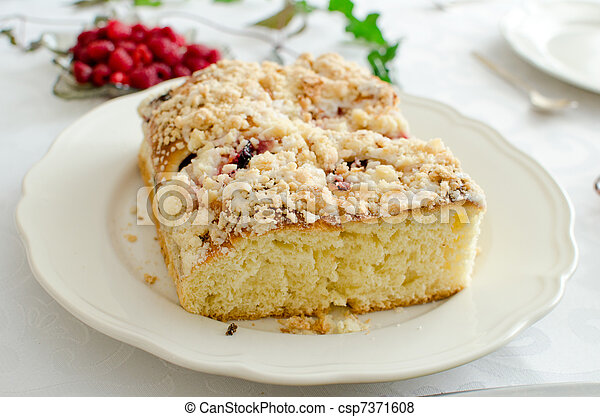Yeast cake on a white plate