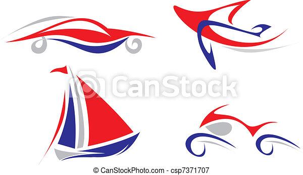 Plane, Yacht, Car, Motorcycle -  - csp7371707