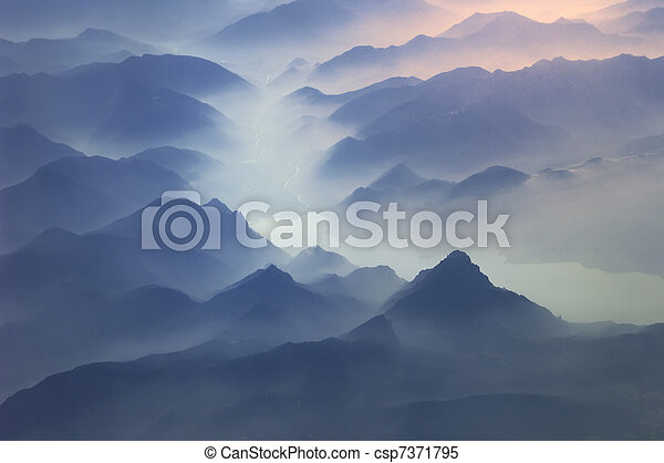 Tops of mountains, Alps - csp7371795