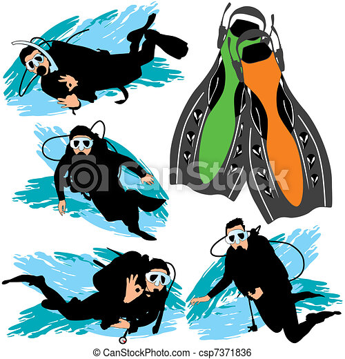 Scuba diving silhouettes set - csp7371836