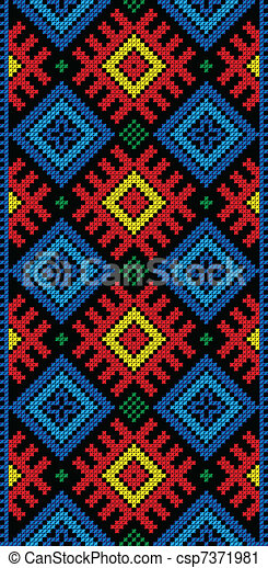 folk Rectangular Cross-stitch on black - csp7371981