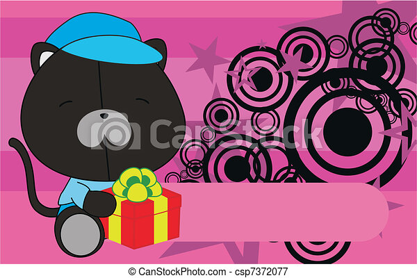 panther baby cartoon background - csp7372077
