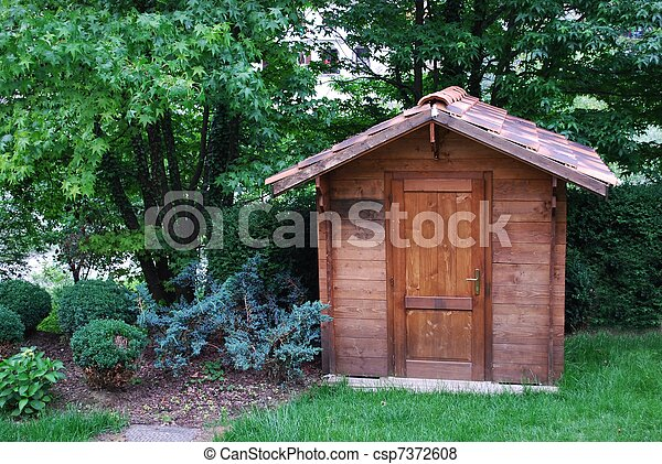 Wooden tool shed - csp7372608