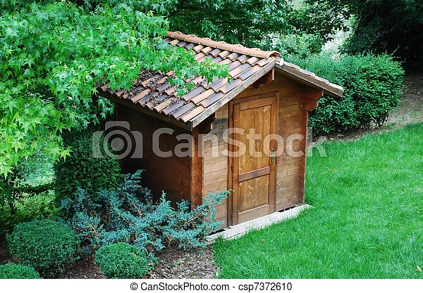 Wooden tool shed - csp7372610