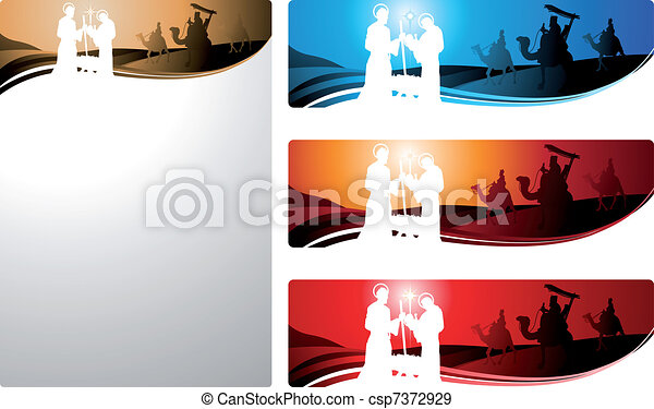 Nativity banners and letter - csp7372929