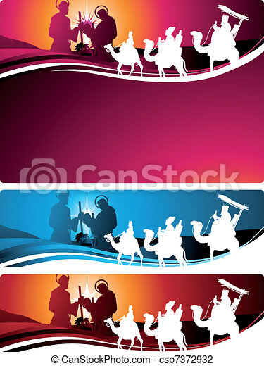 Nativity banners and letter - csp7372932