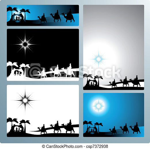 Nativity banners and letter - csp7372938