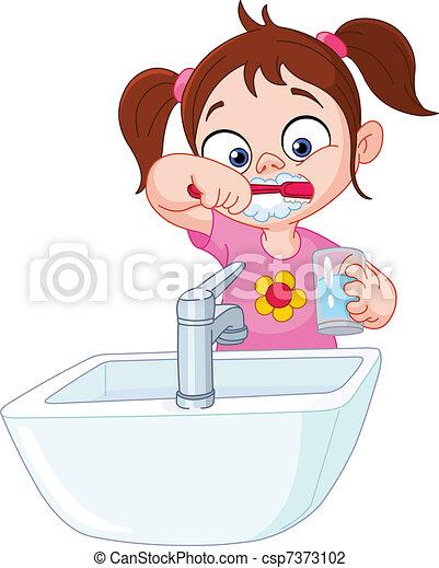 Girl brushing teeth - csp7373102