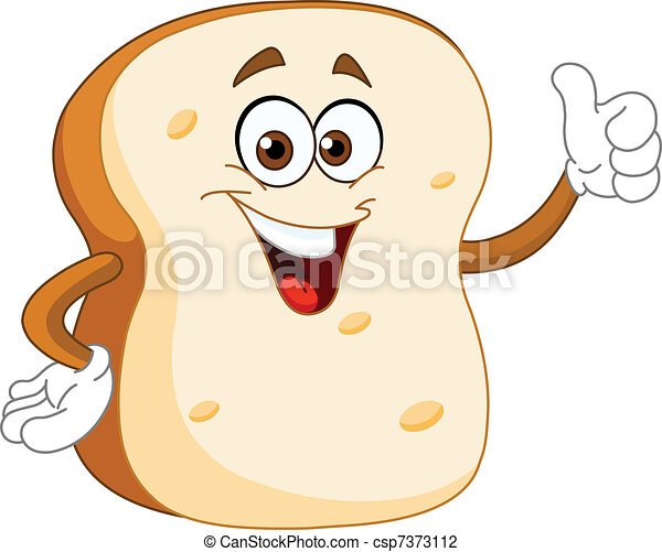 Bread slice cartoon - csp7373112