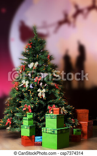 Christmas three and gift boxes around it