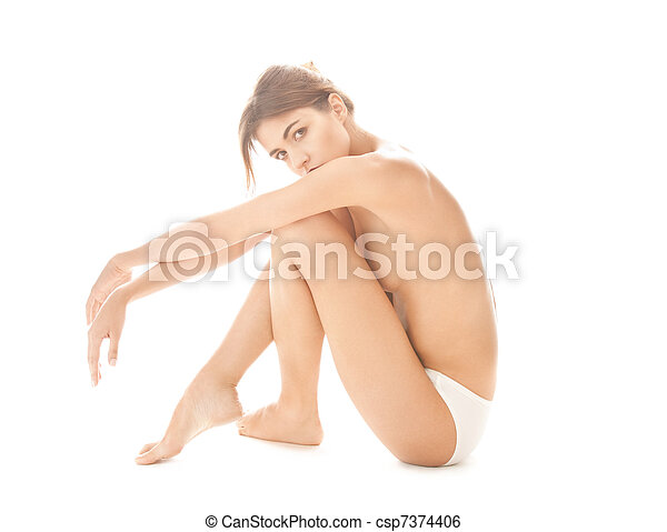 beautiful topless woman in panties - csp7374406