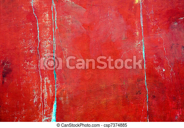 Rustic red plastered wall - csp7374885