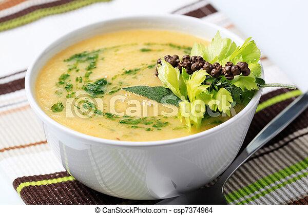 grönsak, grädde, soppa - csp7374964