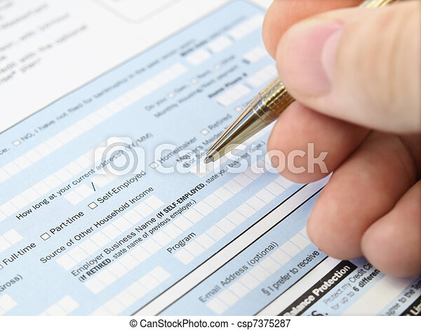 Filling out   application form. - csp7375287